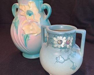 Roseville and Weller pottery vases