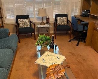 2 chairs , glass and chrome coffee table, desk and chair
