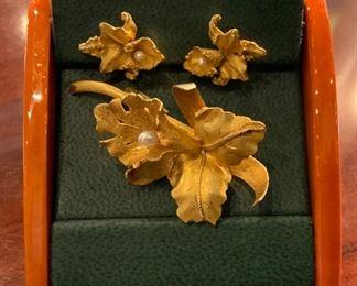 18k Orchid Pin & Earrings - $395