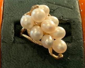 14k Pear Cluster Ring - $395