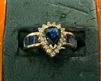 14k Sapphire & Diamonds - $550