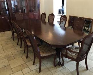 Custom built, 10-chair dining set.