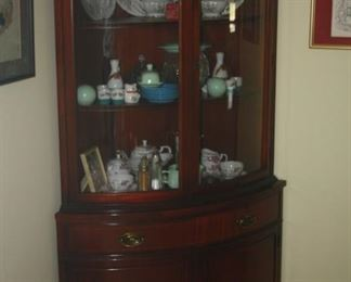 CORNER MAHOGANY CHINA CABINEY
