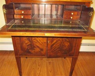 Stunning 1940's Vintage Antique Flamed Mahogany Leather Top Secretary Desk