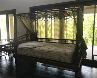 "$1800, Teak Day/Wedding Bed: 96""W x 62""D x 83""H"