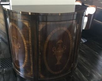 "$395, Inlaid Demilune Chest (as is): 36""W x 19""D x 37"" H"