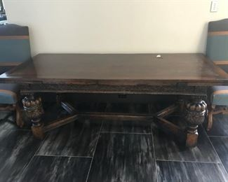 $2200, Jacobean Oak Extension Dining Table: