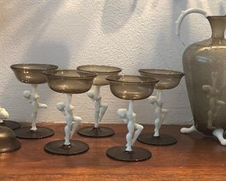 Austrian Bimini nude cocktail set - decanter & 6 glasses (2 glasses AS IS + decanter is missing stopper)