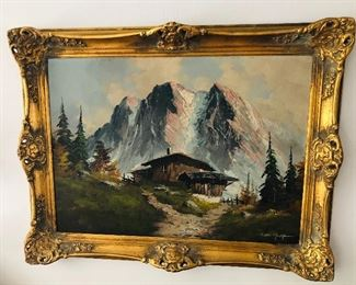 """German painting on board in gilt frame (framed size 25"""" x 33"""")"""