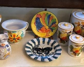 Italian ceramics: cookie jar, Desimone pitcher w/ Picasso-style decoration, plates, canister set with fruit