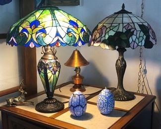 Newer stained glass lamps, small vintage copper lamp, fun candles