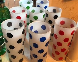 Close up of polka dot tumblers - 2 of each color