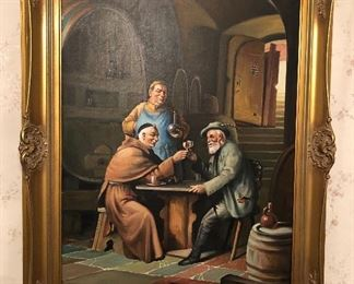 """German oil painting on canvas of drinking scene. It's a copy of Eduard Van Grutzen's """"Old Friends"""" painting (framed size 25"""" x 33"""")"""