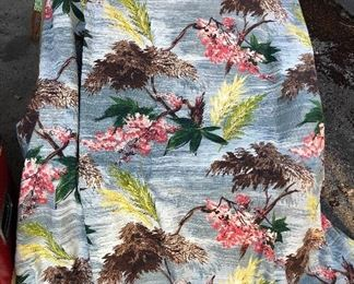 """Pair of vintage barkcloth drapes - each is 45"""" x 82"""". Fully lined & both in good condition (lining is intact but has some stains)"""