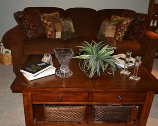 Lazy Boy Sofa, Coffee Table, Cassini Candle Sticks, Waterford Crystal, Books