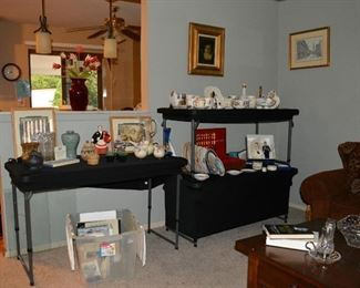 Overview of Collectibles, Asian Vase Man, Franz Pottery, Baskets, Wedgwood Dishes, Indian  Presidential Framed Art, Diana Books, Royal Family Items  Gold Silverware in Case  Art