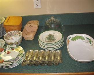 Art pottery, spode Xmas, chocolate molds, Longaberger baskets