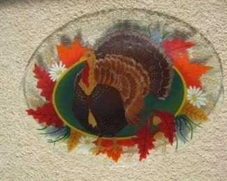Fused glass turkey platter