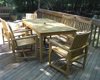 $800.00. Kingsley Bate , 6 piece including one side bench teak wood Patio set VG condition!!