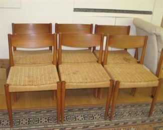 $200.00, 8 MCM Danish dining room chairs, structurally sound staining to seats there are only six shown here but there are eight