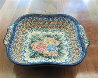 """$22.00, T. Liana Poland Pottery Dish  11 x 9"""", vg condition no chips or cracks"""