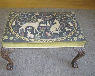$150.00, Tapestry Hounds and floral Antique Bench