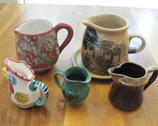 $12.00, 5 Art Pottery Pitchers