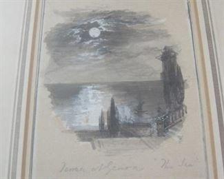 "$350.00, 11 x 13"" Foster Myles Bairket Terrace at Genoa The Sea,"
