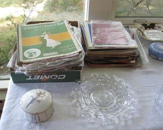 Sheet music, American Fostoria plate, Wedgwood