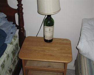 Wine bottle lamp, 2 twin beds