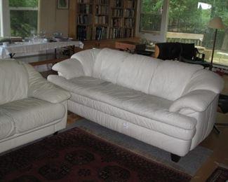 Creamy white leather sofa and love seat, Natura leather