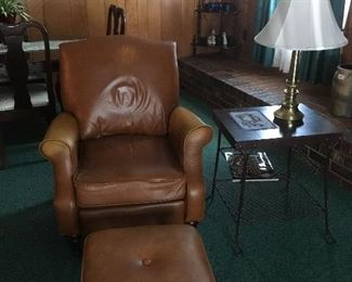 Vintage Leather Chair & Ottoman, Side Table , Brass Lamp.