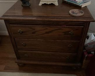 $ 145~ OAK THREE DRAWER CHEST