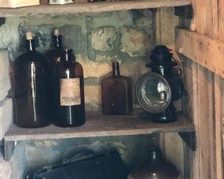 Dr Bag, apothecary bottles , Printed my Crock Jug   Old Buggy lantern