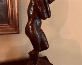 Woman & Man Bronze Style Statues Signed by Alva 1992