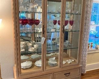 #15 Hickory and White display cabinet in Oriental style, 2 drawers in base. Beveled glass doors. $785.00