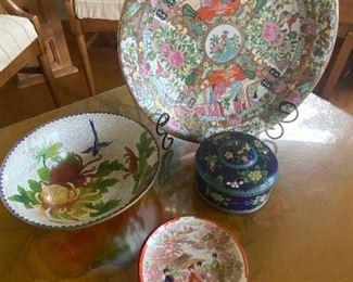 Cloisonne bowl & box, Newer Rose Medallion charger, Geisha Girl saucers