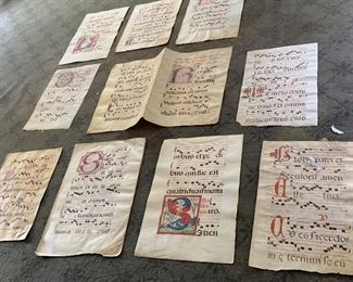 Medieval Sheet Music on Vellum, from the 1500's and 1600's