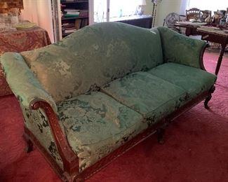"Antique Green Damask Sofa with ""Ram"" Feet"