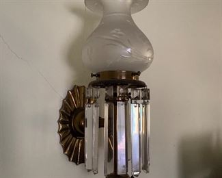 Set of Six (6) Antique Sconces with Lusters
