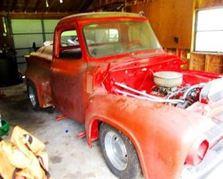 1953 Ford Truck 80% restored and runs great. This truck has an F 250  XLT  6.7 liter engine which is also rebuilt and fires right up. All remaining uninstalled parts come with the truck for quick install and a final paint job.