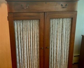 """REDUCED!  $375.00 now, was $500.00......Fooled ME!  Beautiful Lexington Pie Safe Reproduction Cabinet, beveled mirror, inside has shelving and Drawer on bottom, 40"""" x 18 1/2"""", 70"""" tall (M160)"""