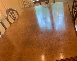 Superb Antique Burled Walnut Dining Table, 6 Chairs and 2 Leaves... excellent condition and Beautiful double pedestals (M5)