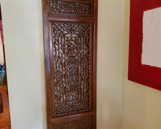 Chinese carved wood window