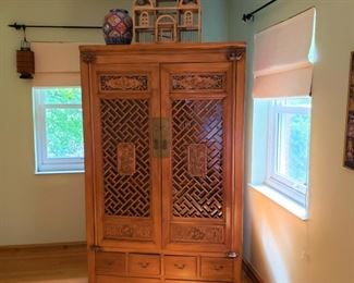 Carved wood Chinese cabinet