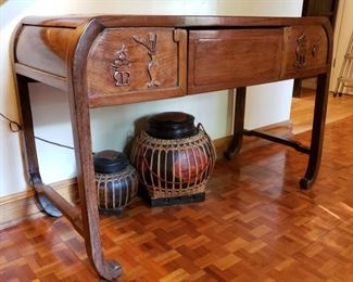 Chinese Qing era carved hardwood table with single drawer, early 1900's