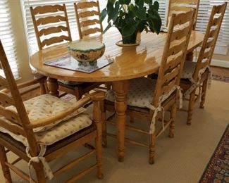 "Bausman & Co. Fine Bench Made Furniture  French style ladder back dining chairs, Four side chairs and two armchairs, table measures 78"" long  x 42"" wide x 29"" high"