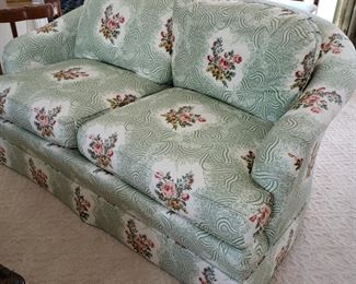 Close up of one of the Southwood Furniture Co. settees