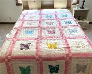 Mid-Century full size bed and handmade butterfly quilt