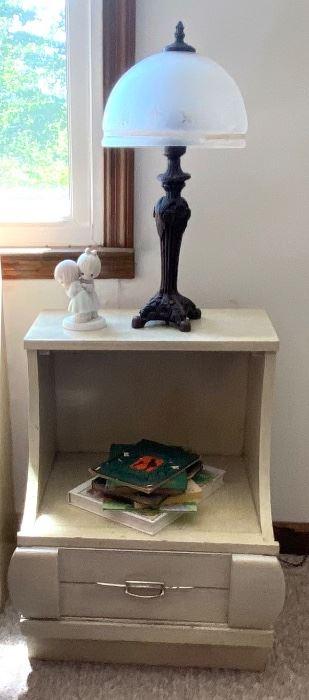Mid-Century nightstand and decorative lamp